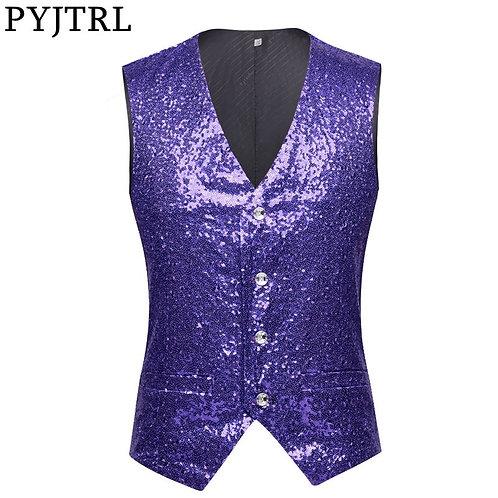PYJTRL Men Paillette Waistcoat Purple Lavender Pink Full Sequins Wedding Vest