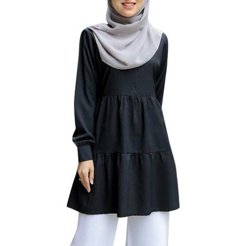 Muslim Fashion Tops Women Casual Top for Musliman 2020 New Solid Color Black