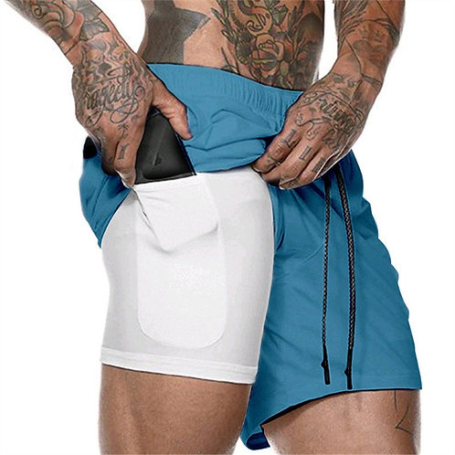 Quick Dry 2 in 1 Men Double-Deck Sports Running Shorts Active Training Exercise