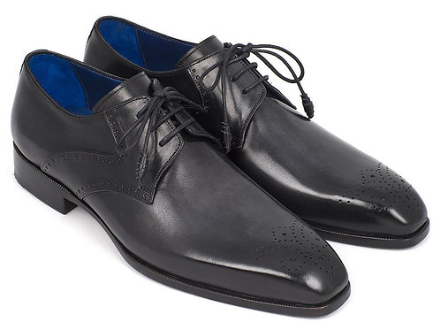 Paul Parkman Men's Black Medallion Toe Derby Shoes