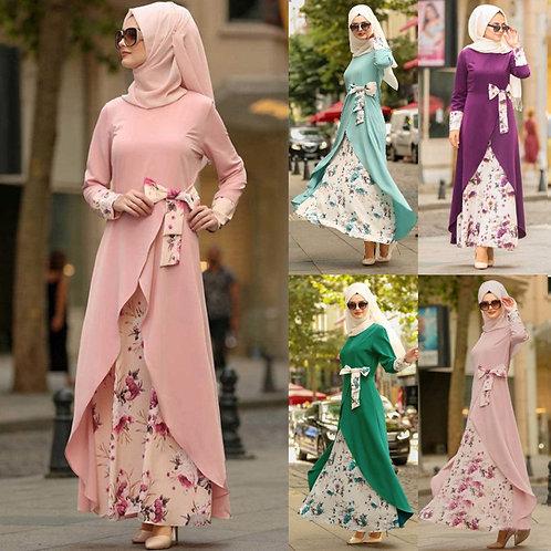Beautiful Muslim Dress Women Floral Long Cocktail Long Dress Evening Party