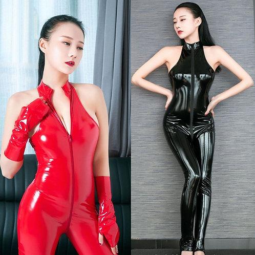 Wetlook PVC Catsuit Zipper Open Crotch Bodysuit Shiny Bodystocking