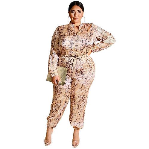 4XL 5XL Plus Size Women Casual Jumpsuit Sexy 2019 Vintage Leopard Print