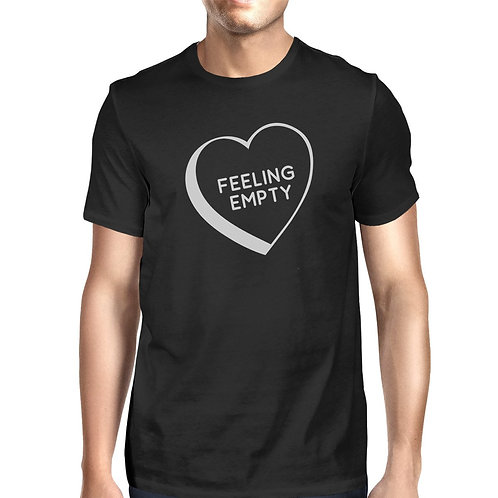 Feeling Empty Heart Men's Black Casual Graphic T-Shirt Funny Saying