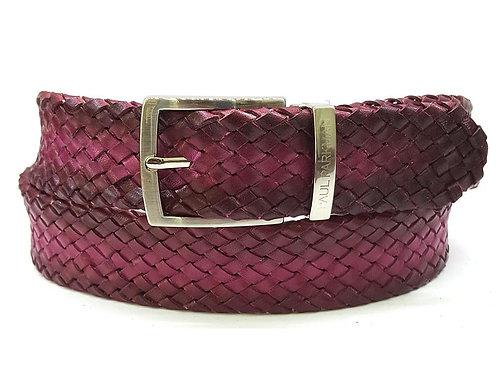PAUL PARKMAN Men's Woven Leather Belt Purple (ID#B07-PURP)