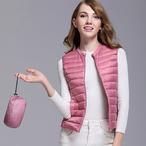 New Autumn Women White Duck Down Vest Ultra Light Down Vest Jacket