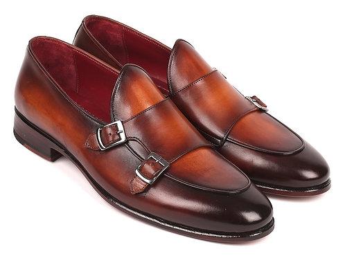 Paul Parkman Men's Brown Double Monkstrap Shoes