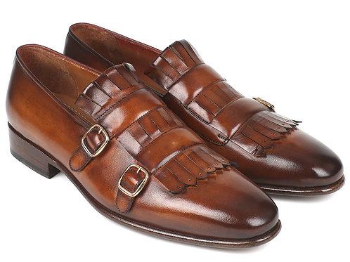 Paul Parkman Men's Brown Kiltie Double Monkstraps