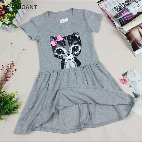TANGUOANT Hot Sale New Summer Girl Dress Cat Print Grey Baby Girl Dress