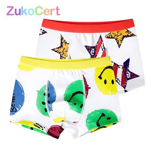 2 Pcs/Lot Soft Organic Cotton Children's Teenager Underwear Colorful Boys Shorts