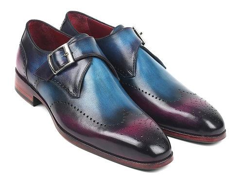 Paul Parkman Single Monkstraps Blue & Purple