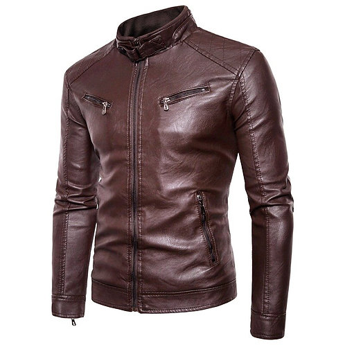 Men Leather Jacket Autumn New Motorcycle Causal Pocket PU Leather Jacket Men