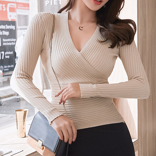 15 Colors 2019 Sexy Deep v Neck Sweater Women's Pullover Slim Sweaters Female