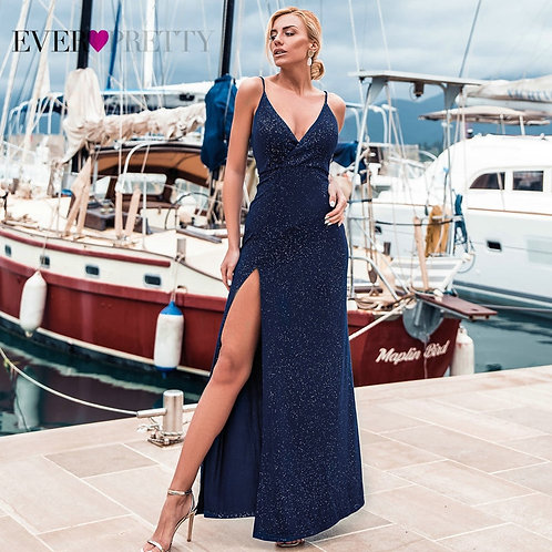 Sexy Navy Blue Evening Dresses , Sexy V-Neck Sparkle Leg Slit Long Formal
