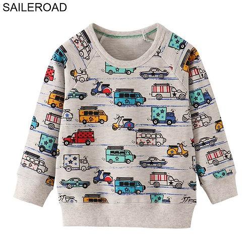 SAILEROAD Cartoon Car Print Boys Sweatshirts for Kids Clothes Autumn Children