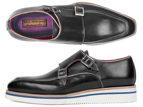 Paul Parkman Men's Smart Casual Monkstrap Shoes Black Leather