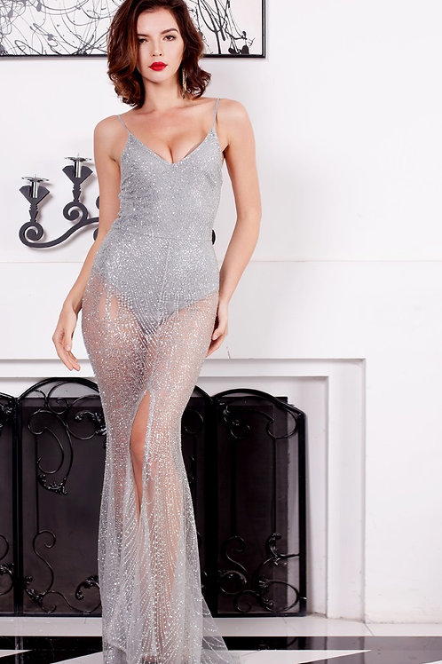 Silver Glitter Maxi Dress