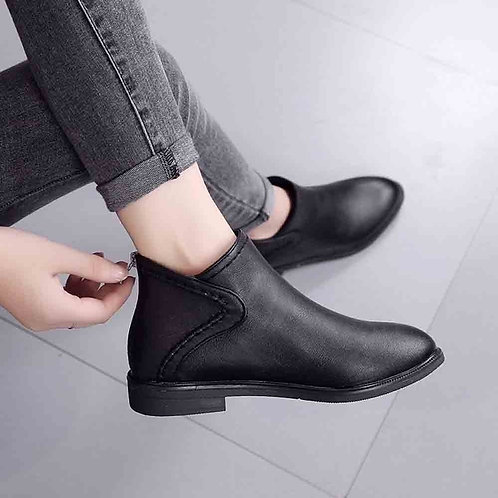 Leather Boots Women Daily Square Heel Zip Shoes Breathable
