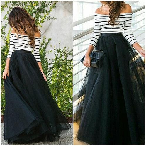 4 Layers 100cm Floor Length Skirts for Women Elegant High Waist Pleated Skirt