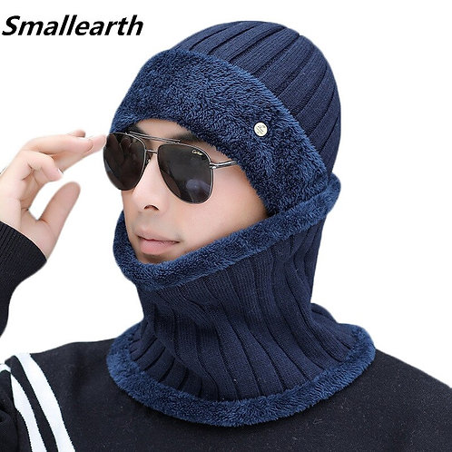 New Winter Warm Hat Scarf Set Plush Beanies Hats Knitted Thick for Men