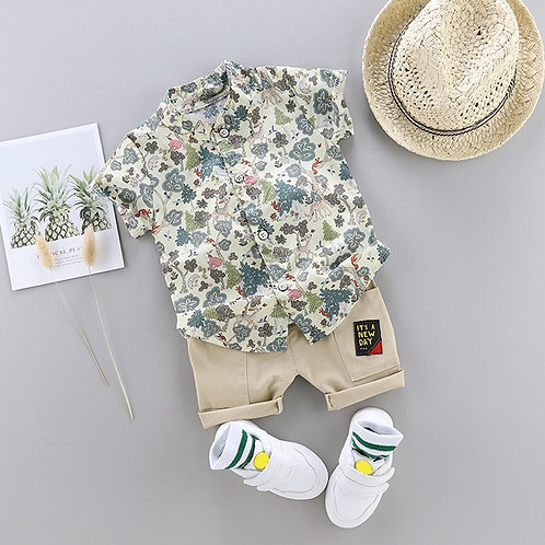 New Outfits Toddler Boy Clothing Summer Print Set Children Clothing Short Sleeve