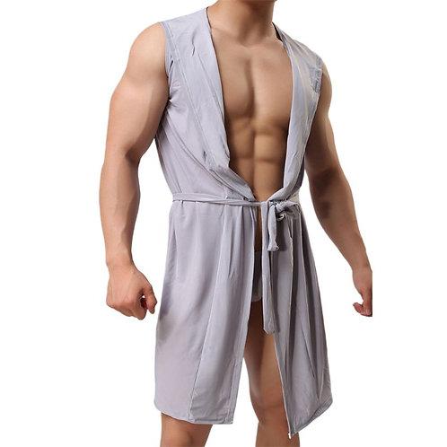 Mens Summer Ice Silk Kimono Bath Robe Hooded Sleeveless Open Front Lightweight