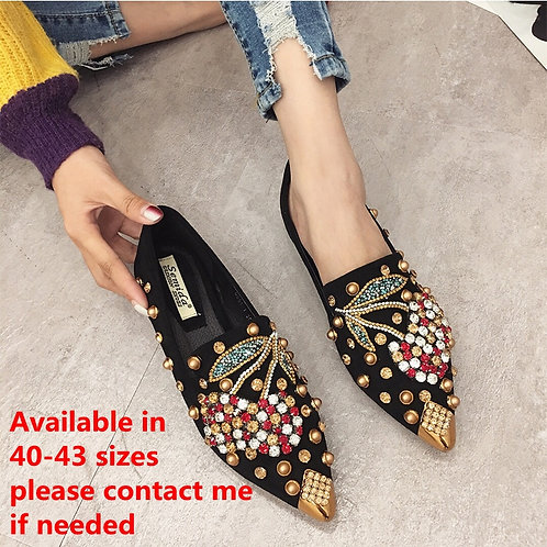 Woman Flats Shoes Rhinestone Cherry 2019 Spring New Female Metal Pointed