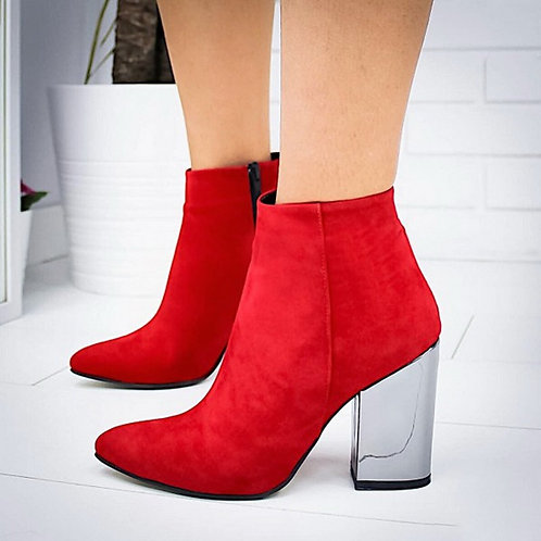 European Pointed Toe Girl Boots Flock Solid Woman Solid Boots Boots