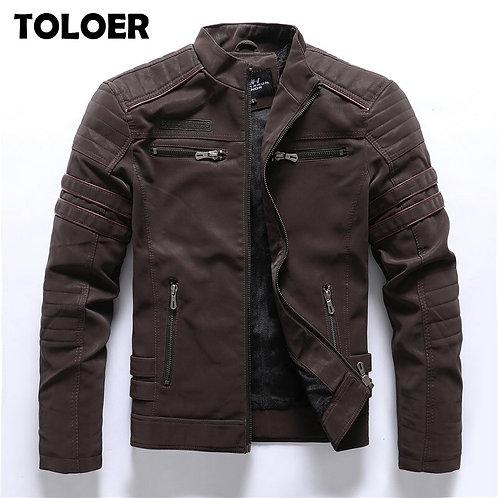 Men Fashion Pu Leather Jackets Coats Mens Autumn Back Skull Leather Jackets