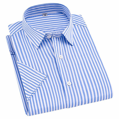 Summer New Turn Down Collar Short Sleeve Striped Men Casual Shirts