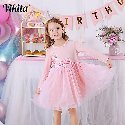 VIKITA Girls Dress Long Sleeve Kids Princess Dresses Children Unicorn Vestidos