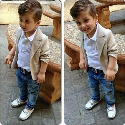 3PCS Fall Children Gentleman Suits Coat+white Long Sleeve T-Shirt+jeans