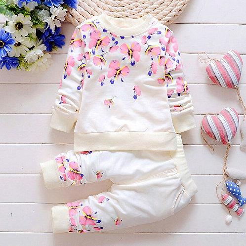 Baby Girl Clothing Sets Fashion Long Sleeve Print Flower Toddler Tshirt + Pants