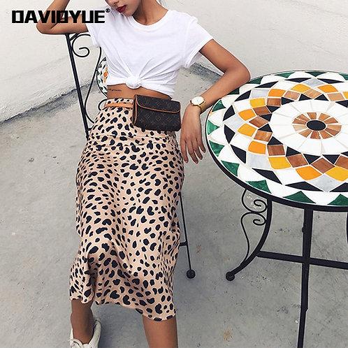 Leopard Print Skirt Women A-Line High Waist Skirt Wild Midi Skirts