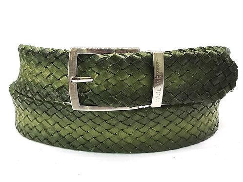 PAUL PARKMAN Men's Woven Leather Belt Green (ID#B07-GREEN)