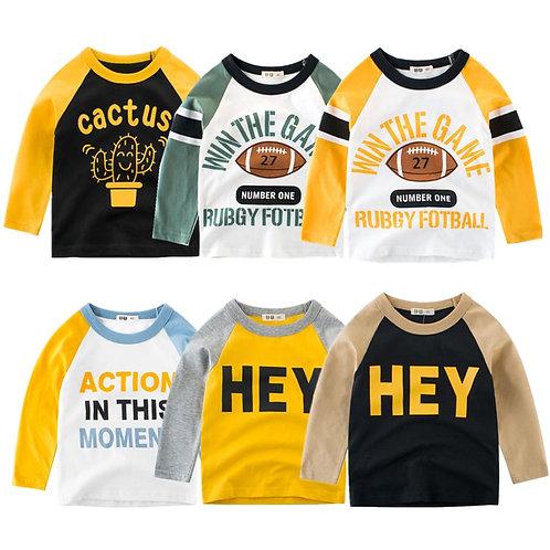 Kids T-Shirts Boys Splice Long Sleeve Tops Girls Autumn Winter Cotton Sweatshirt