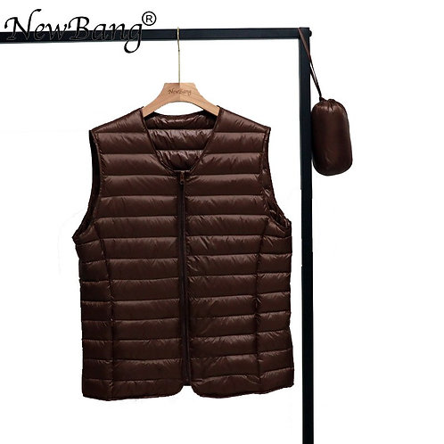NewNewBang Spring Couples V-Neck Man's Ultra Light Down Vest Zipper Waistcoat