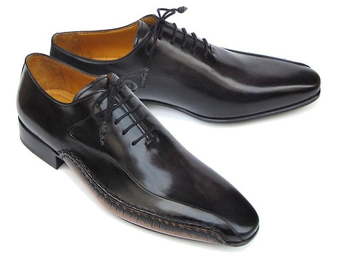 Paul Parkman Men's Black Leather Oxfords - Side Handsewn Leather Upper & Sole