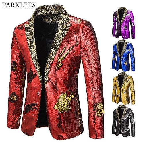 Mens Blazer Coat Shiny Sequin Blazer Men Luxury Wedding Singer Prom Glitter Mens