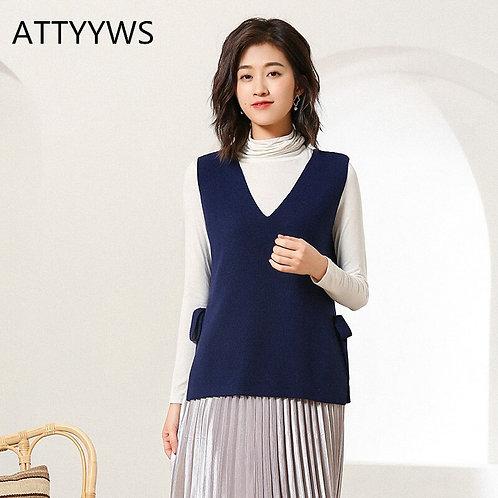 Ladies Knit Sleeveless Sweater V-Neck Vest Vest Fashion Wild Women Jacket