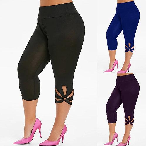 Fashion Leggings Women Plus Size Solid Hollow Elastic Waist