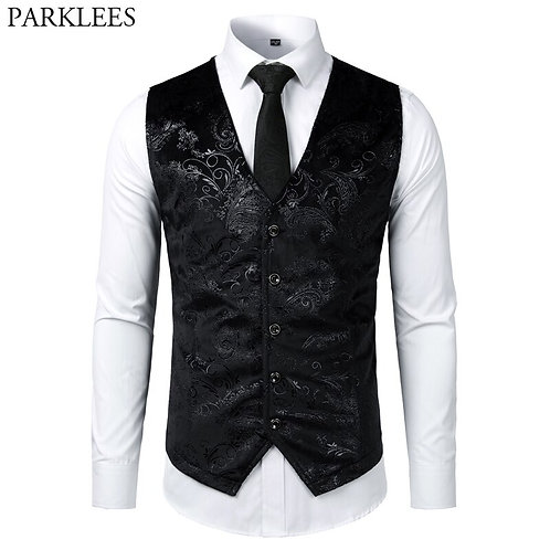 Steampunk Victorian Gothic Mens Cosplay Costume New Breasted V-Neck Suit Vest