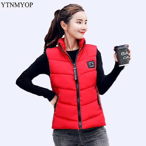 New Down Cotton Vest Women Winter Short Waistcoat
