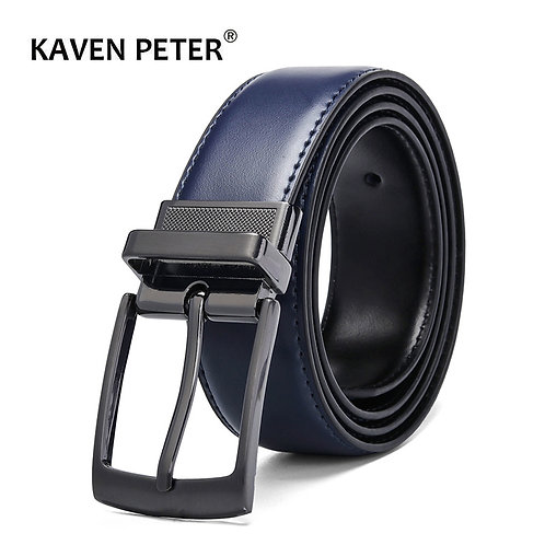 Luxury Fashion Male Reversible Leather Belt/ for Jeans Blue Dark Brown Black