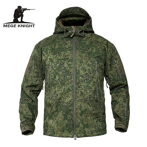 MEGE Men's Military Camouflage Fleece Tactical Jacket Men Waterproof
