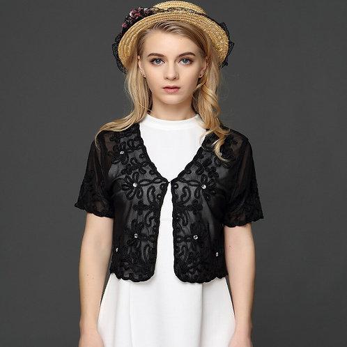 Muslim Style Summer Thin Short Sleeve v Neck Shrugs Jacket