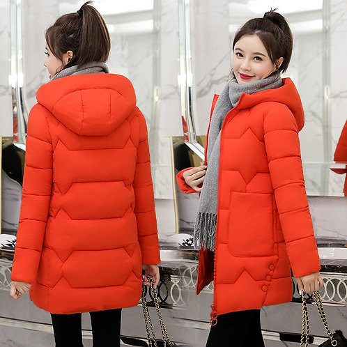 2020 Winter New Women Jacket Coats Slim  Female Down Cotton Hooded Overcoat