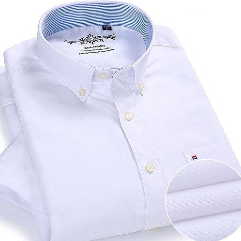 Summer  Short Sleeve Button Collar Oxford Fabric Slim Fit