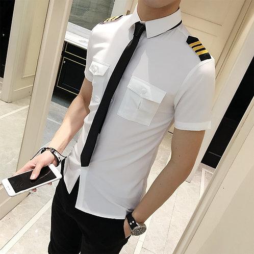 Flight Attendants Clothing Spring Men Short Sleeve Shirt Slim Fit Casual Mens