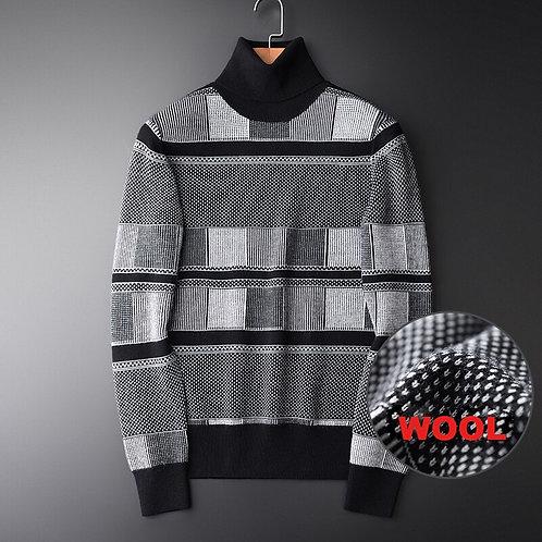 Minglu Men Turtleneck Sweater Luxury Wool Blending Striped Mens Sweaters